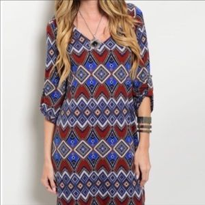 NEW Dress Multi Color 3/4 Sleeve Lined V Neck